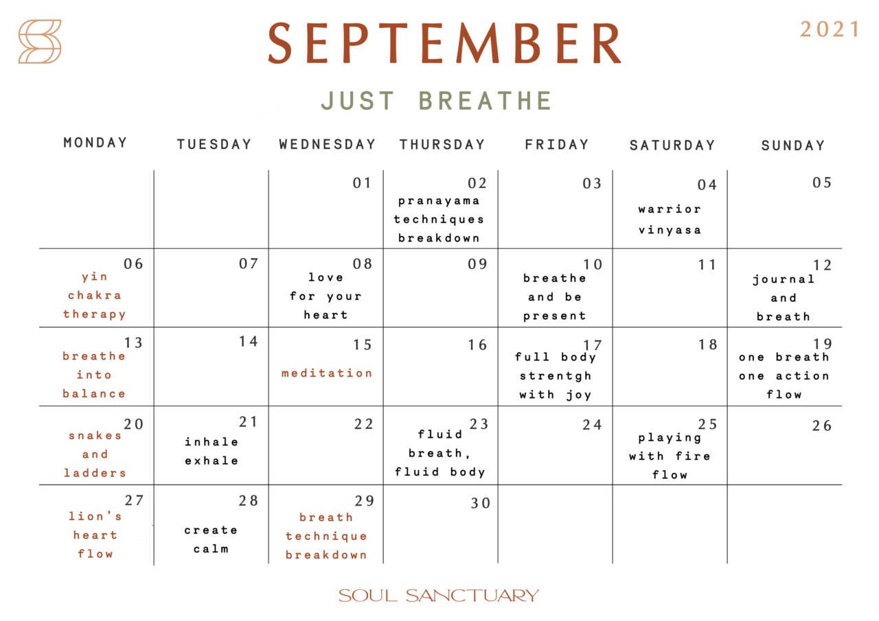 September Monthly Calendar